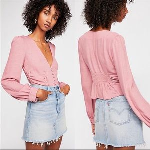 Free People Maise Blouse Pink Rose S